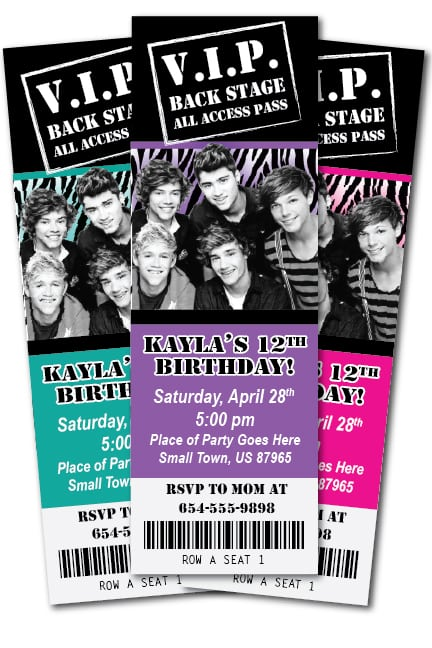 One Direction Party Invitation Templates