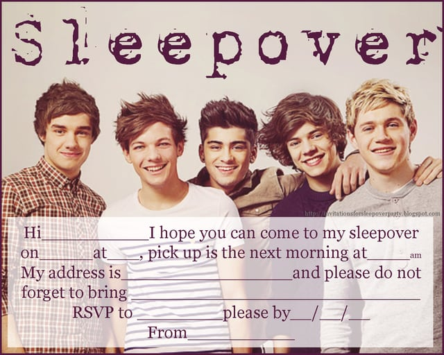 One Direction Slumber Party Invitations Printable