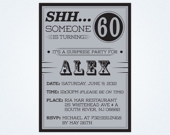 Party Invitations 60th Birthday Suprise