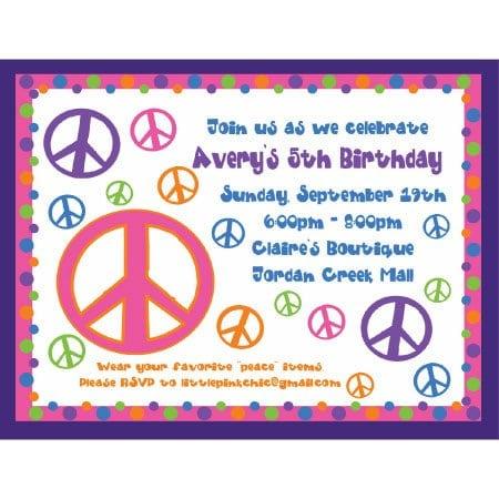 Peace Birthday Invitations