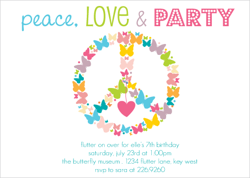 Peace Love Birthday Invitations
