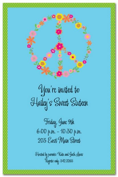 Peace Sign Birthday Invitations Free Printables