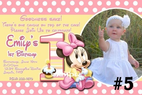Personalized Baby Minnie Mouse Birthday Invitations
