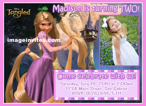 Personalized Disney Tangled Birthday Invitations