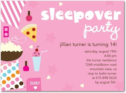 Pictures Of Sleepover Invitations