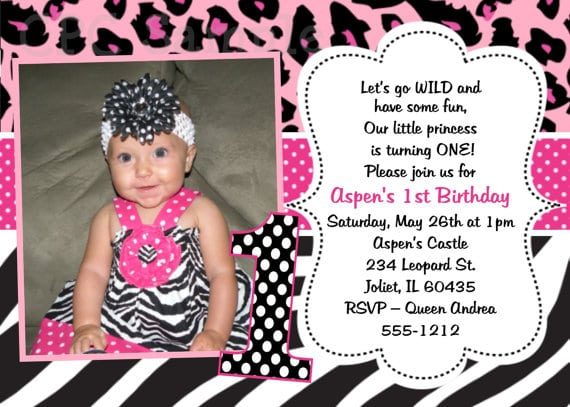 Pink Leopard Print Birthday Invitations