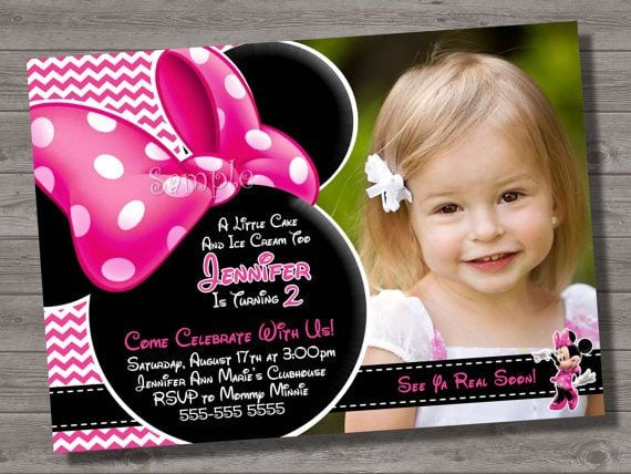 Pink Minnie Mouse Birthday Invitations