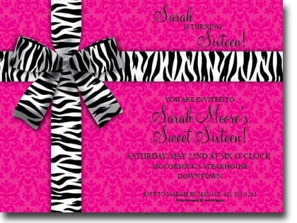 Pink Zebra Invitation Paper
