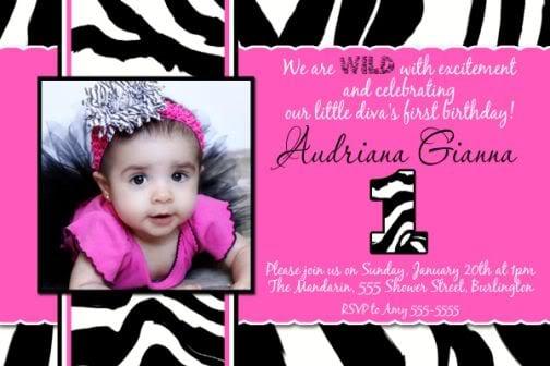 Pink Zebra Invitations