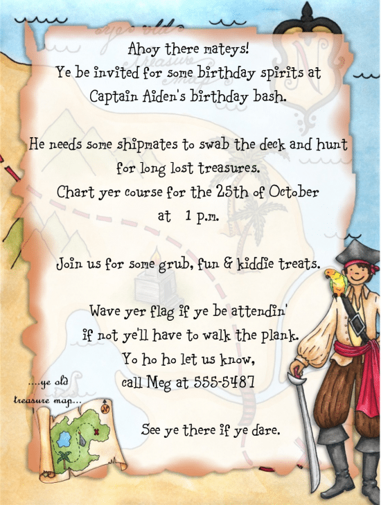 Pirate Birthday Invitations Wording