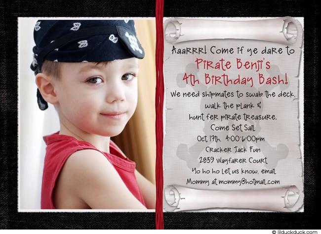 Pirate Birthday Invites Wording
