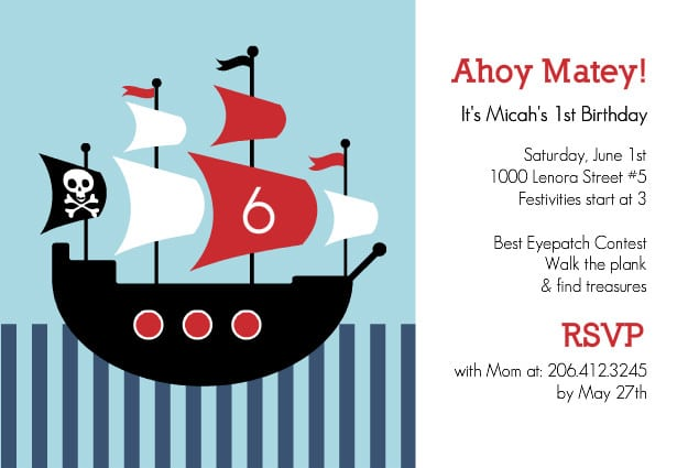 Party Invitations Templates Free – Free Pirate Party Invitations