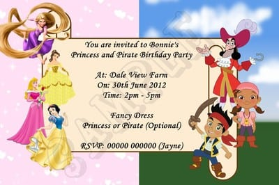 Pirate Party Invites – Princess and Pirates Party Invitations