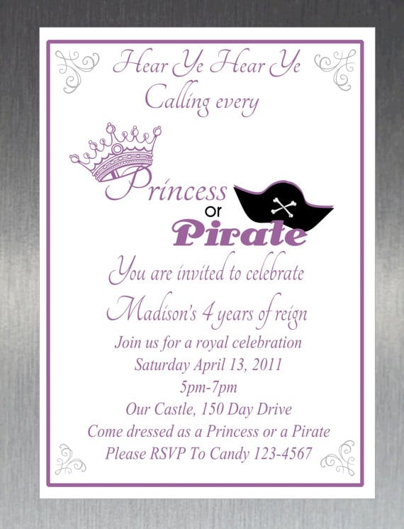Pirate Princess Invitations Printable