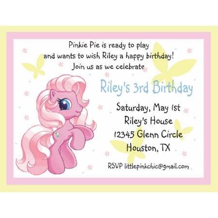 Pony Birthday Invitation Wording
