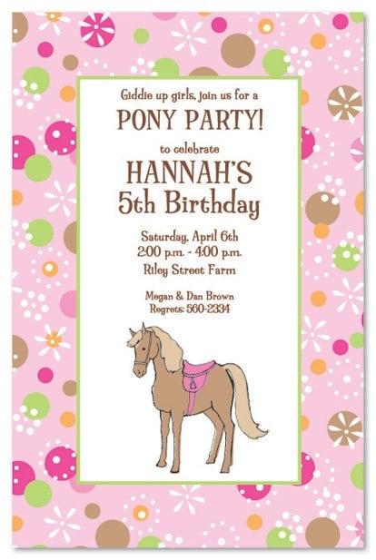 Pony Birthday Invitations
