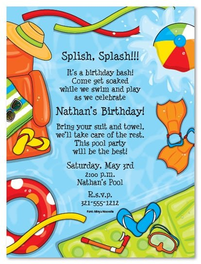 Pool Birthday Invitation Templates Free
