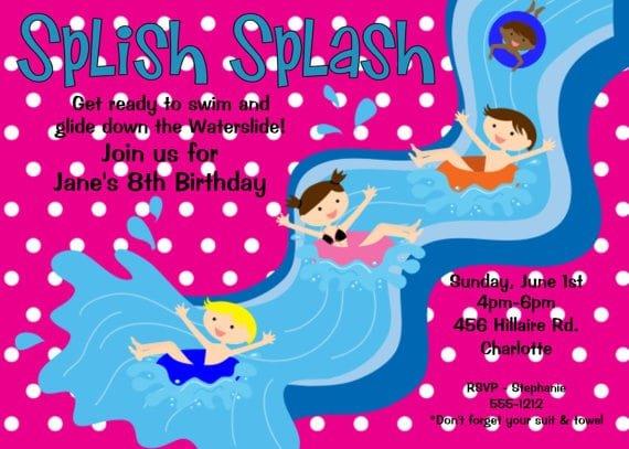 Pool Birthday Invitations Free