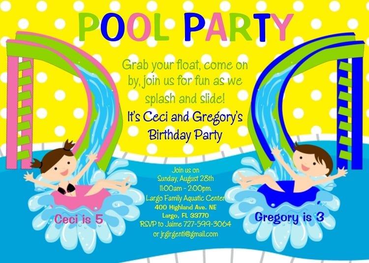 Pool Birthday Invitations Wording