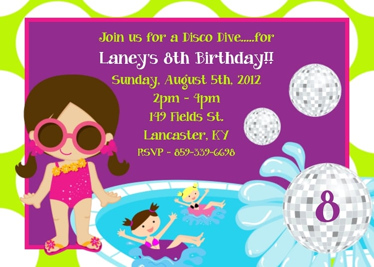 Pool Invitations For Kids