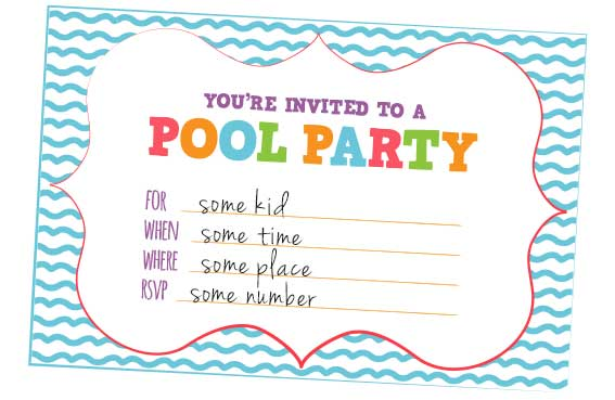 Free pool party invitation templates download stopboris Gallery