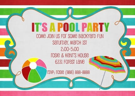 Pool Party Invitations Free Printables