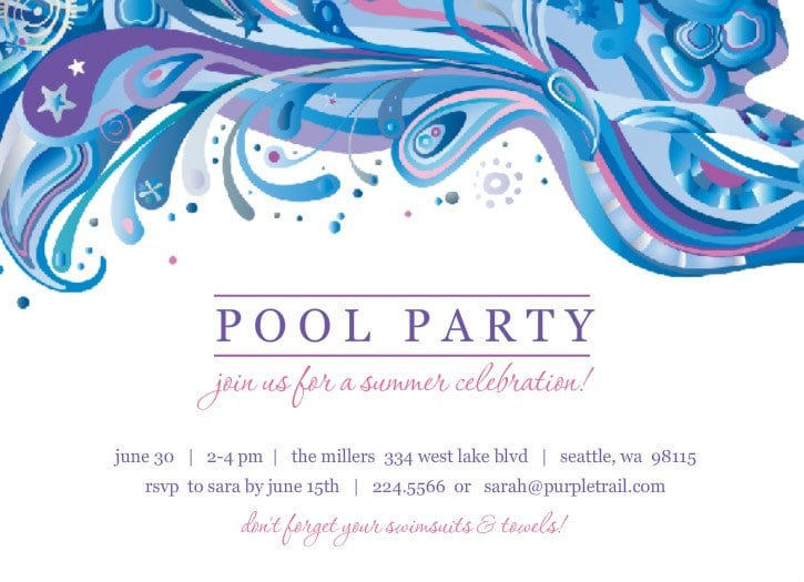 Free Pool Party Invitation Template For Teens einmaleinshaus – Summer Party Invitations Templates