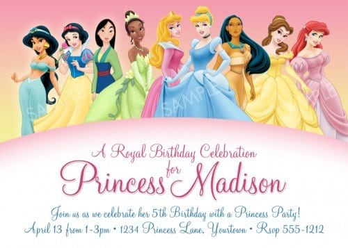 Princess Party Invitations Printable
