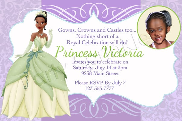 Princess Tiana Birthday Party Invitations
