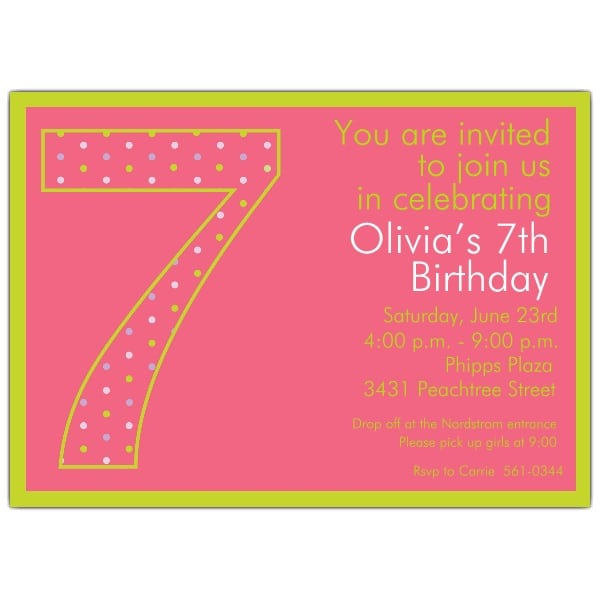Printable 7th Birthday Invitation