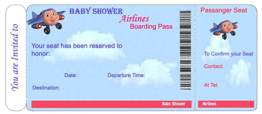 Invitation City  Plane Ticket Invitation Template
