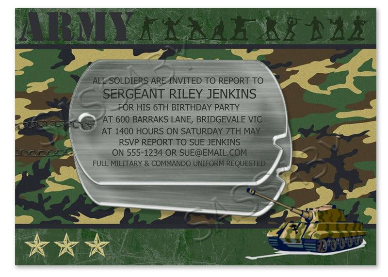 Printable Army Birthday Invitations Temolates For Free