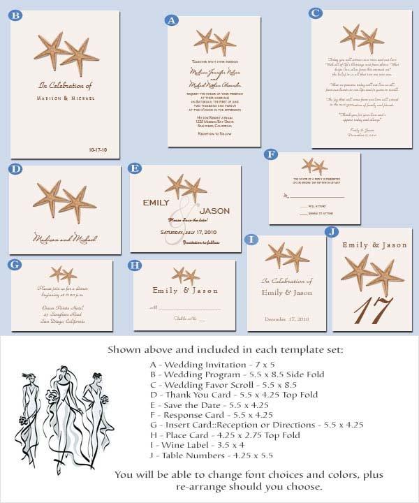 Printable Beach Wedding Invitation Templates