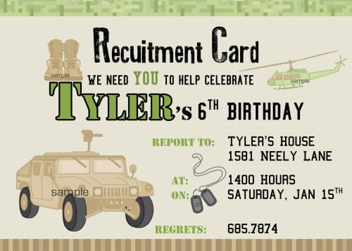 Printable Birthday Invitations Army Theme