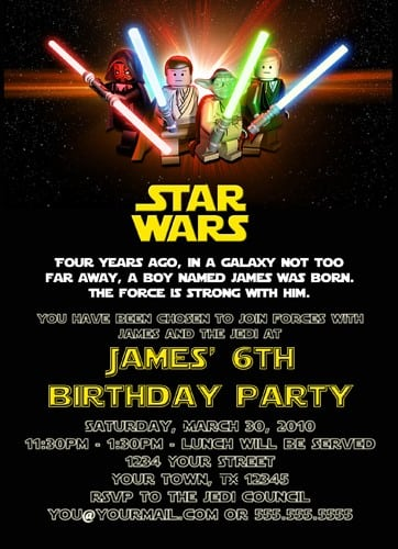 Printable Birthday Invitations Free Star Wars