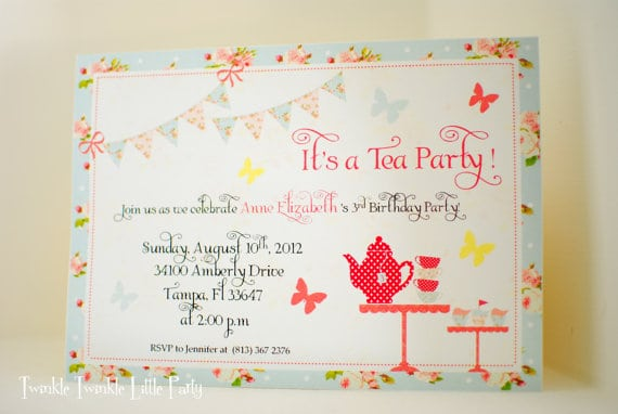 Printable Birthday Tea Party Invitations