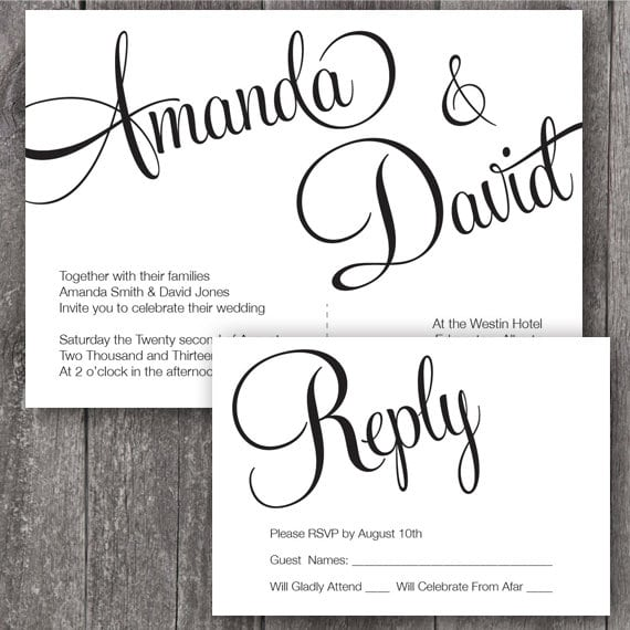 Printable Designs For Wedding Invitations