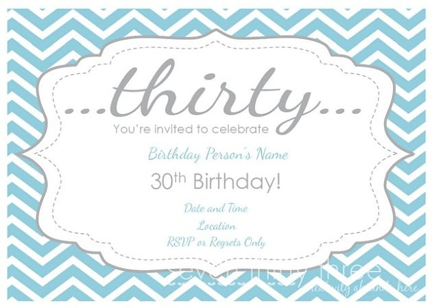 Printable Download 30th Birthday Invites