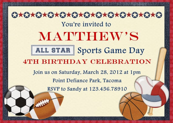 Printable Free Sports Birthday Invites
