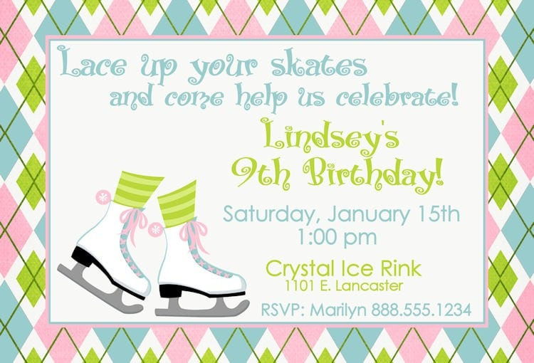 Ice Skating Birthday Invitations with great invitation template