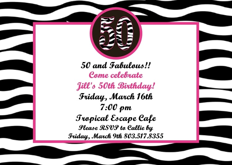 Printable Invitations 50th Birthday