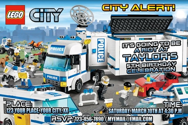 Printable Lego City Birthday Invitations