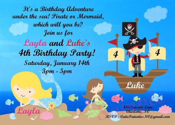 Printable Mermaid Pirate Party Invitations
