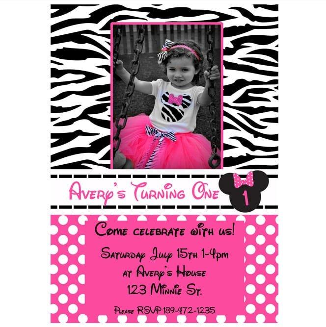 Printable Minnie Mouse Zebra Invitation