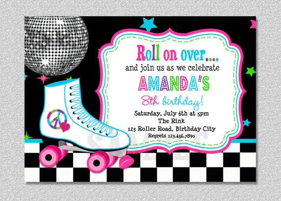 Printable Roller Skating Birthday Invitations