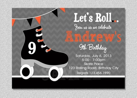 Printable Roller Skating Party Invitations
