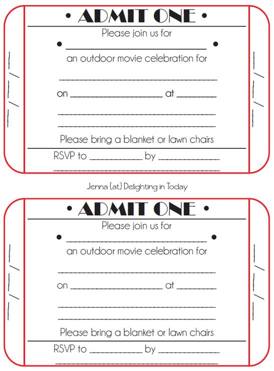 Printable Ticket Invitations Templates