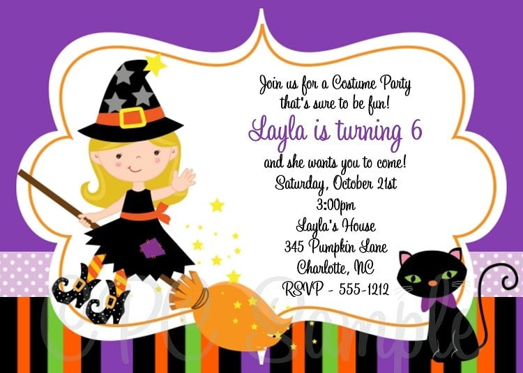 Printable Witch Birthday Party Invitations For Kids
