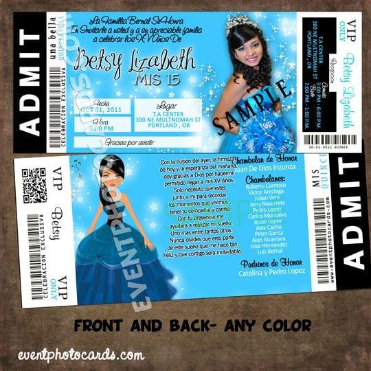Quinceanera Concert Ticket Invitations