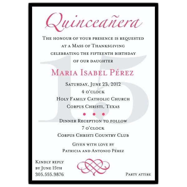 Quinceanera Invitation Samples